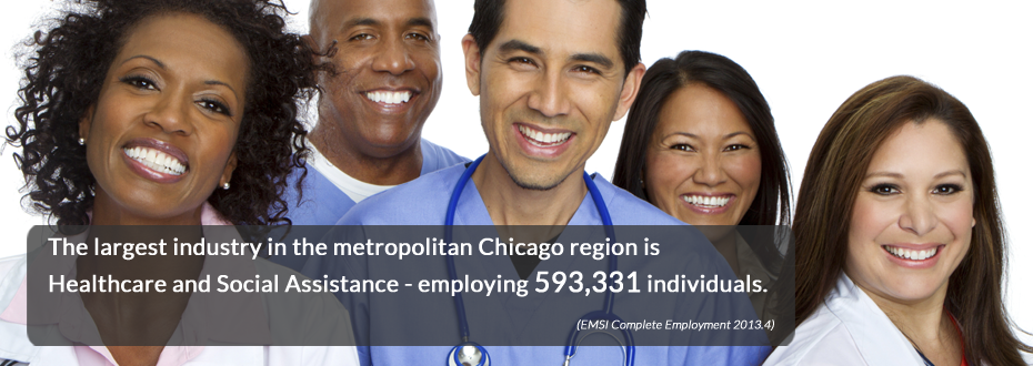 The largest industry in the metropolitan Chicago region is Healthcare and Social Assistance - employing 593,331 individuals.
